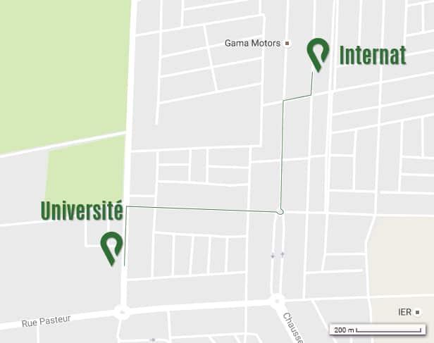 itineraire de l'internat de l'UPAB